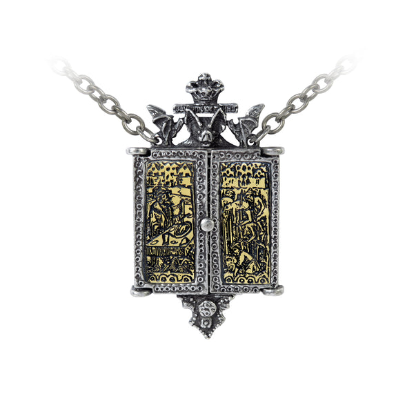 Alchemy Gothic Balkan Triptych Icon Locket Pendant Necklace Bats Skeleton Vlad The Impaler