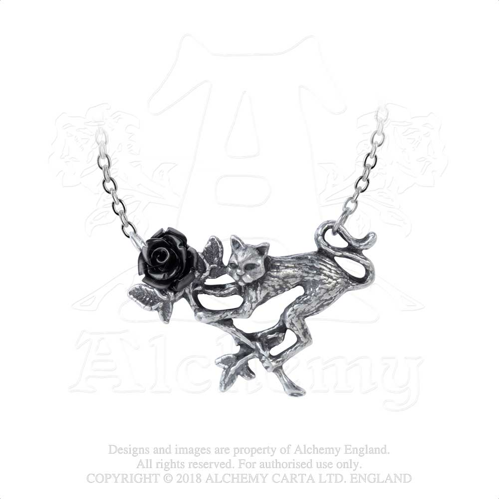 Alchemy Gothic Rosenkatze Black Rose & Kitty Cat Pendant Necklace