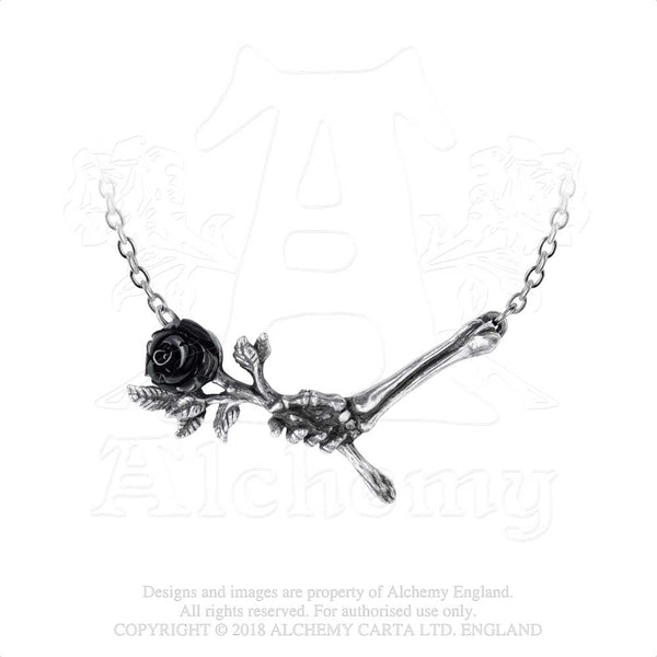 Alchemy Gothic Love Never Dies Black Rose & Skeleton Hand Pendant Necklace