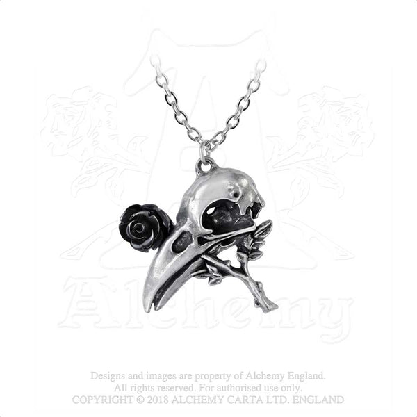 Alchemy Gothic Quietus Black Rose & Raven Skull Pendant Necklace