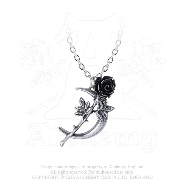 Alchemy Gothic New Romance Crescent Moon & Black Rose Pendant Necklace