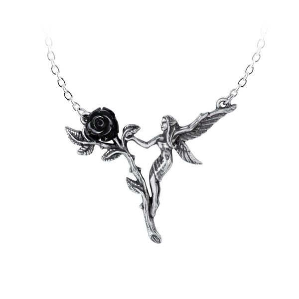 Alchemy Gothic Faerie Glade & Black Rose Pendant Necklace