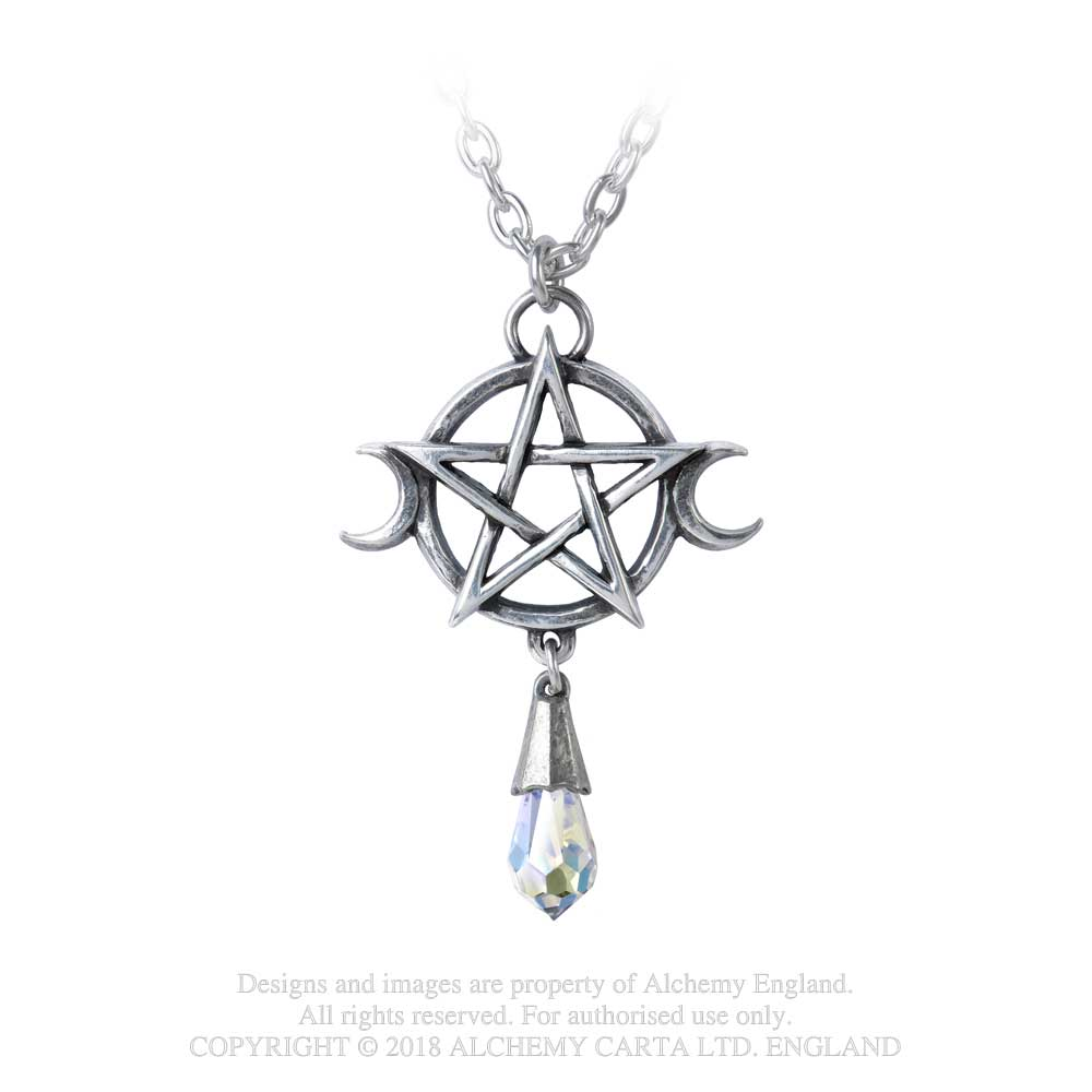 Alchemy Gothic Pentacle Goddess w/ Stone Pendant Necklace Moon Phases