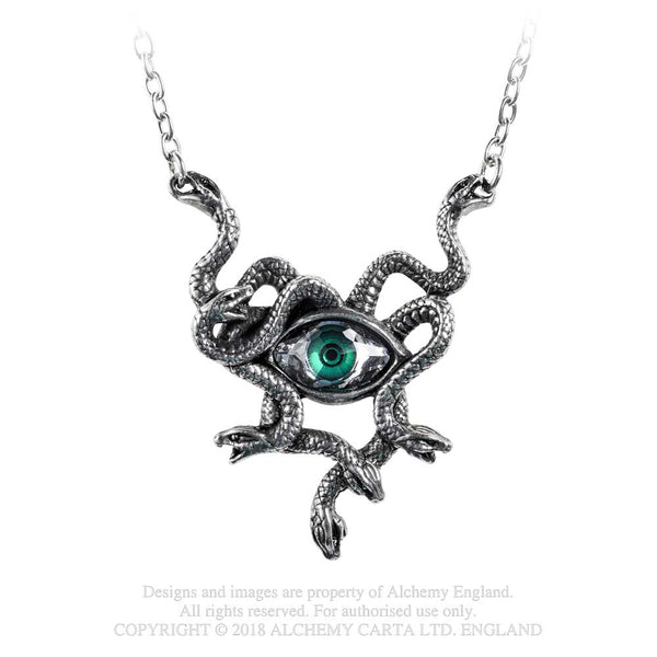 Alchemy Gothic Gorgons Eye & Snakes Pendant Necklace Serpents
