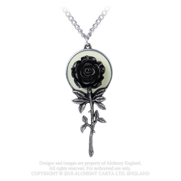 Alchemy Gothic Luna Moon Black Rose Pendant Necklace