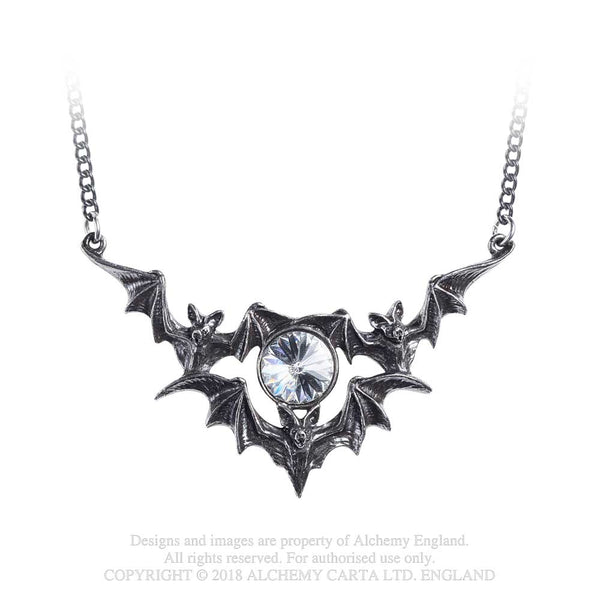 Alchemy Gothic Phantom 3 Bats Flying w/ Stone Pendant Necklace