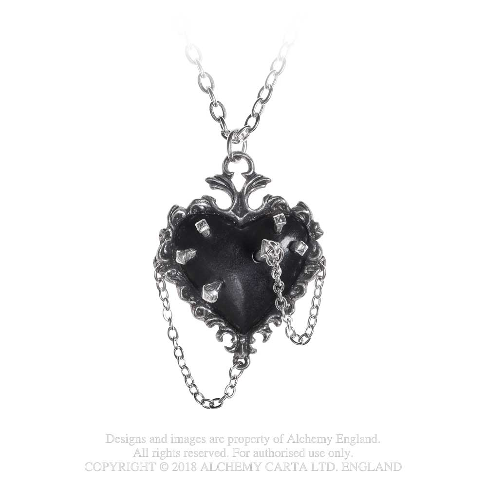 Alchemy Gothic Witches Black Heart Pendant Necklace