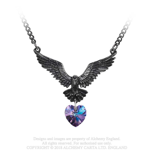Alchemy Gothic Hamingja Raven w/ Heart Pendant Necklace