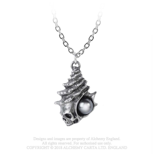 Alchemy Gothic The Black Pearl of Plage Noire Skull Pendant Necklace