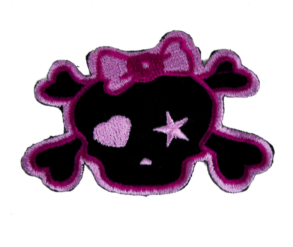 Pink Punk Rock Skull Rockabilly Patch Iron on Applique Alternative Clothing Emo