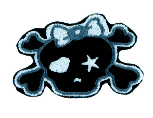 Gray Punk Rock Skull Rockabilly Patch Iron on Applique Alternative Clothing Emo
