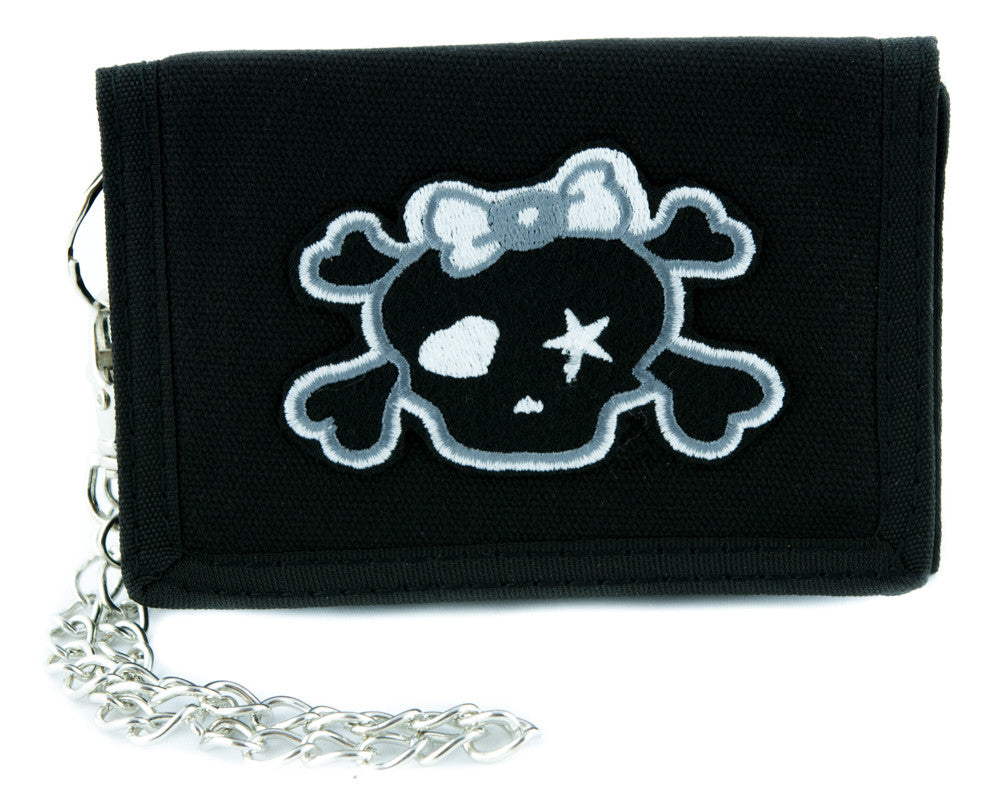 Gray Skull with Bow Tri-fold Wallet w/ Chain Rockabilly Clothing
