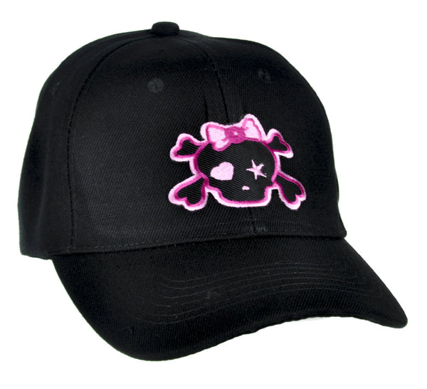 Pink Skull with Bow Hat Baseball Cap Gothic Clothing