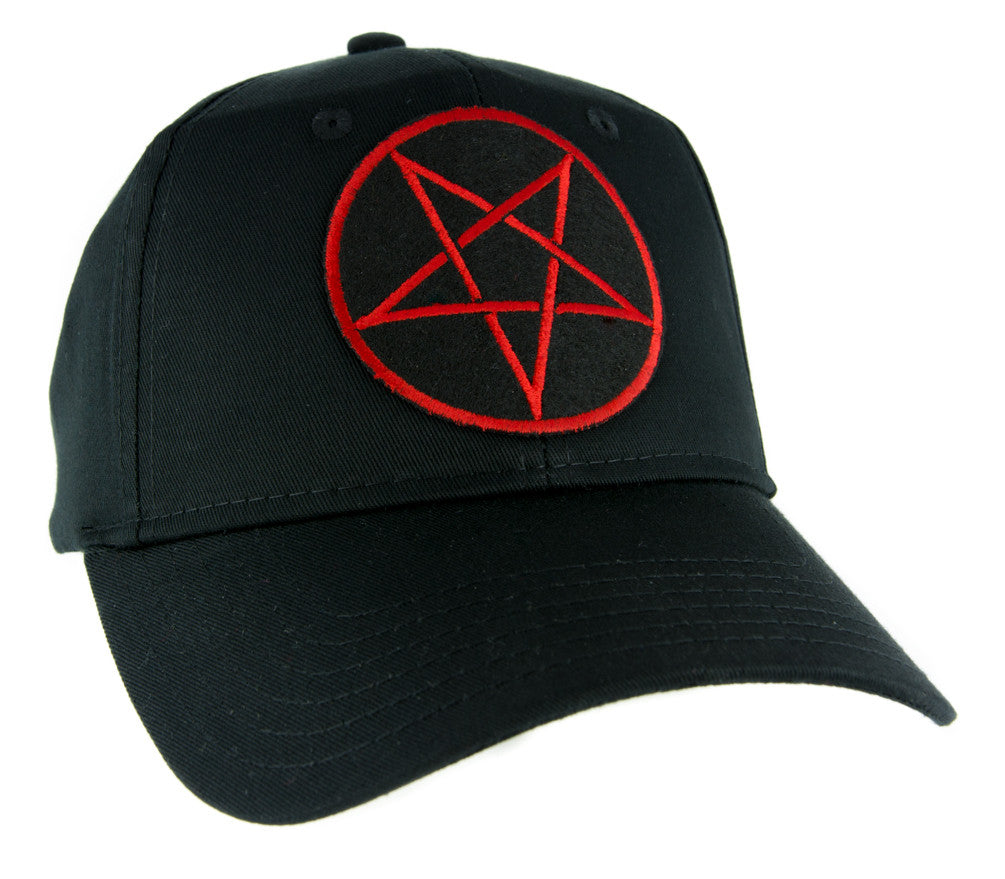 Red Inverted Pentagram Hat Baseball Cap Occult Clothing Death Metal Evil