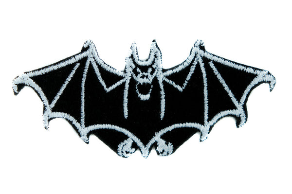 White Vampire Bat Iron on Applique Gothic Occult Gothic Clothing
