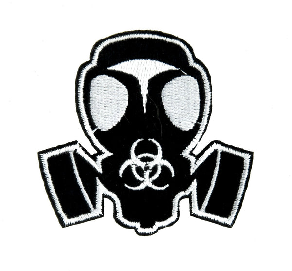 Gas Mask Bio Hazard Sign Patch Iron on Applique Gothic Clothing