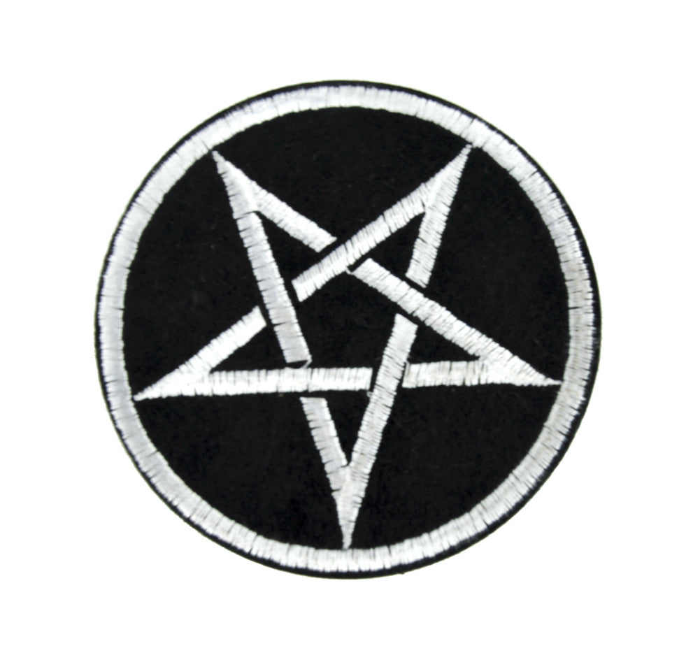 Silver Grey Woven Pentagram Patch Iron on Applique Occult Clothing