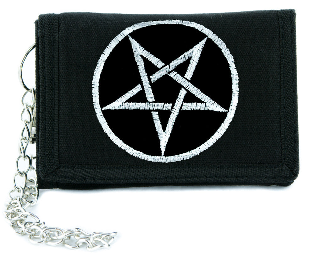 Grey Pentagram Pentagram Tri-fold Wallet w/ Chain Occult Clothing