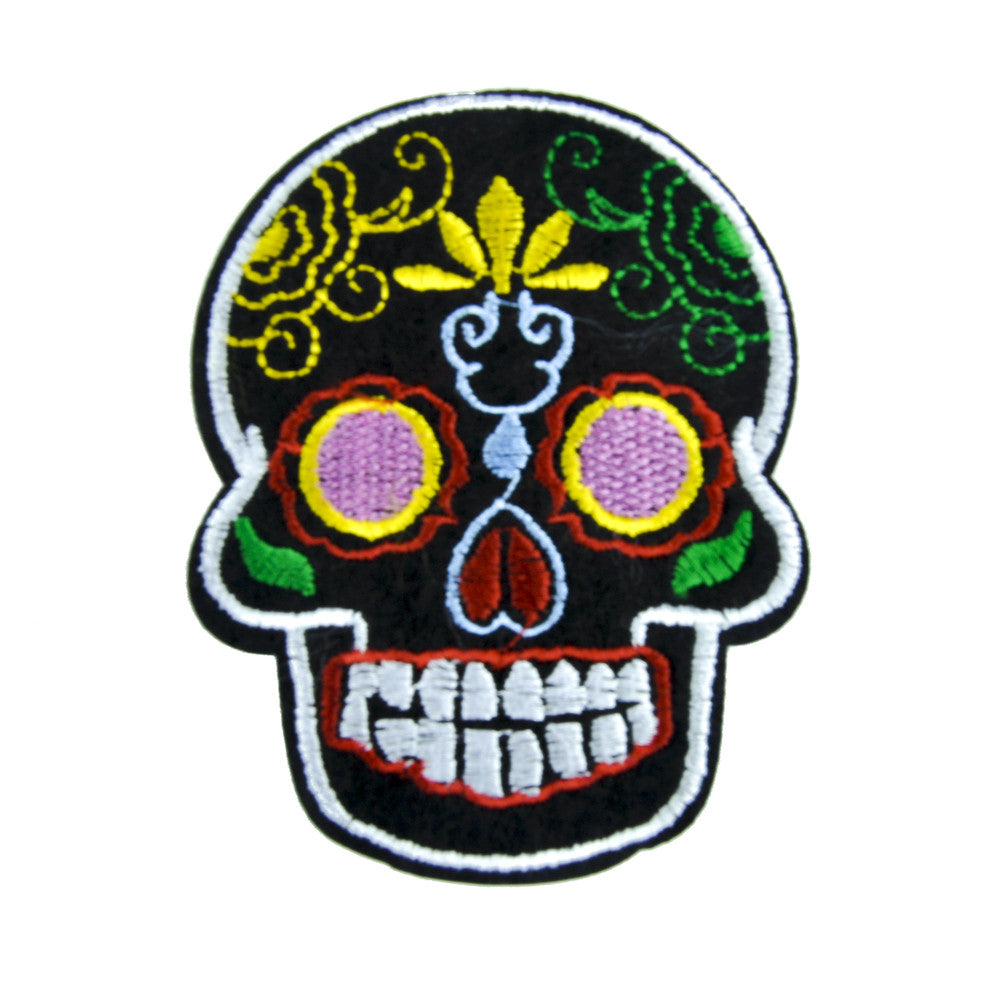Sugar Skull Patch Iron on Applique Dia De Los Muertos