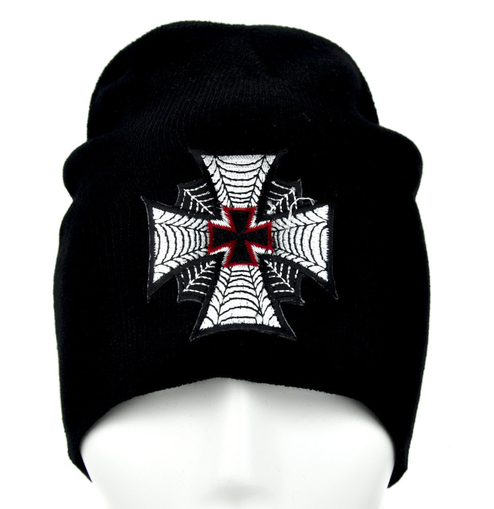 Spide Web Iron Cross Beanie Gothic Knit Cap Alternative Clothing