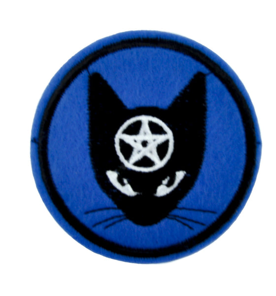 Witchy Black Cat Pentagram Patch Iron on Applique Alternative Clothing