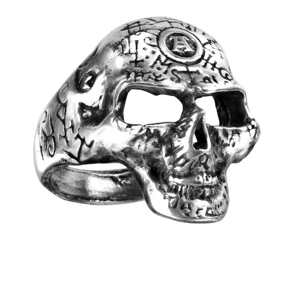 Alchemy Gothic Omega Occult Skull Ring