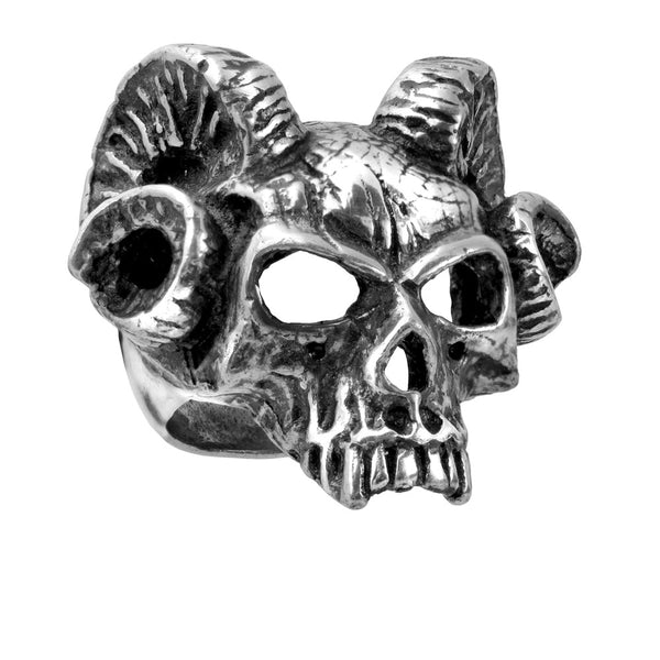 Alchemy Gothic Hell's Doorman Ram Skull Ring