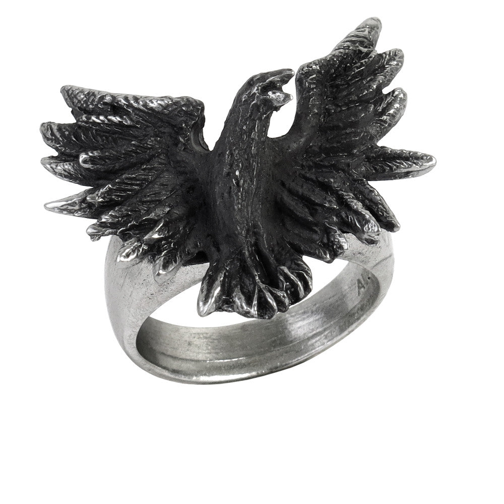 Alchemy Gothic Flocking Black Raven Crow Ring