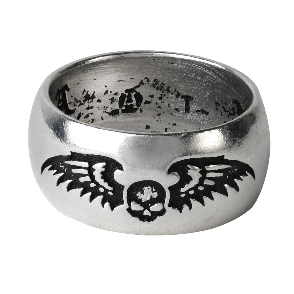Alchemy Gothic Desolation Skull w/ Wings Ring Wedding Band