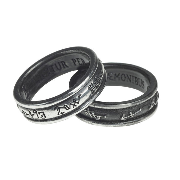 Alchemy Gothic Demon Black & Angel White Ring