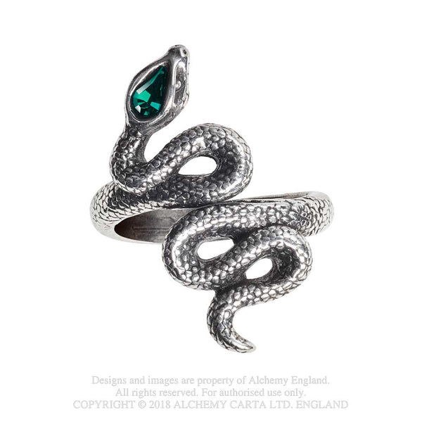 Alchemy Gothic Psalm 68 Serpent Snake w/ Green Stone Ring