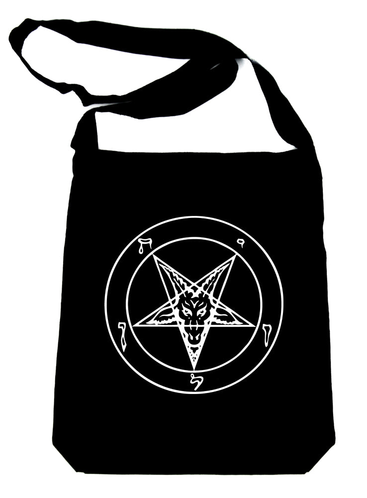 White Sabbatic Baphomet Crossbody Sling Bag Inverted Pentagram Occult