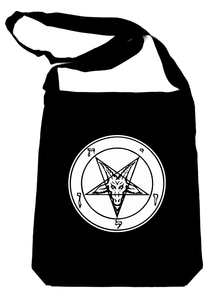 Solid White Sabbatic Baphomet Crossbody Sling Bag Inverted Pentagram