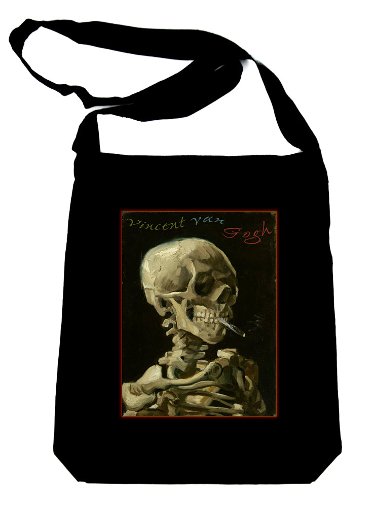 Skeleton Smoking Crossbody Sling Bag Vincent Van Gogh Art