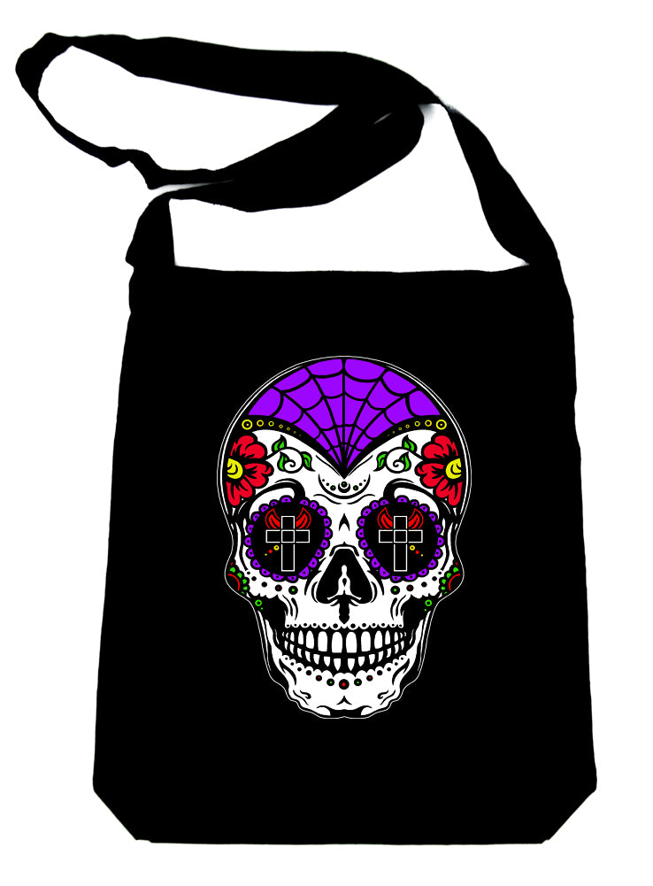 White Sugar Skull Calavera Crossbody Sling Bag Day of the Dead Dia de los Muertos