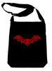 Gothic Wroght Iron Red Vampire Bat Crossbody Sling Bag Elegant Handbag