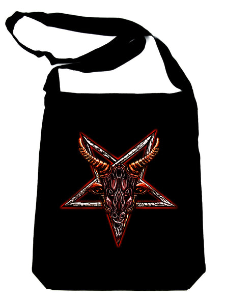 Sigil of Baphomet Sabbatic Goat Head Crossbody Sling Bag Occult Metal