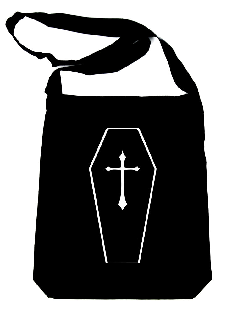 Toe Pincher Coffin w/ Cross Crossbody Sling Bag Alternative Casket
