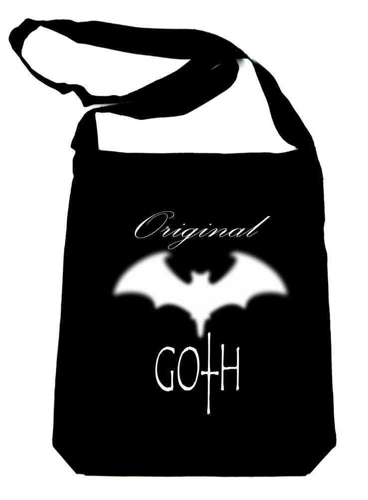 Original Goth with Bat on Black Sling Bag Gothic Deathrock Book Bag