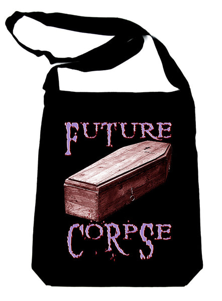 Future Corpse w/ Coffin on Black Sling Bag Gothic Deathrock Book Bag