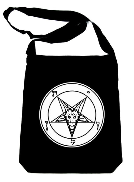 White Classic Sigil of Baphomet Crossbody Sling Bag Occult