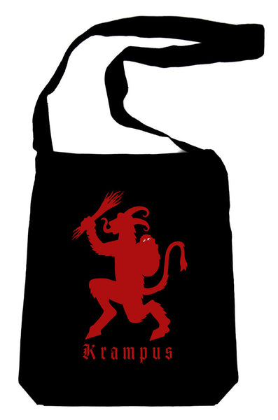 Merry Christmas Krampus on Black Crossbody Sling Bag Horror