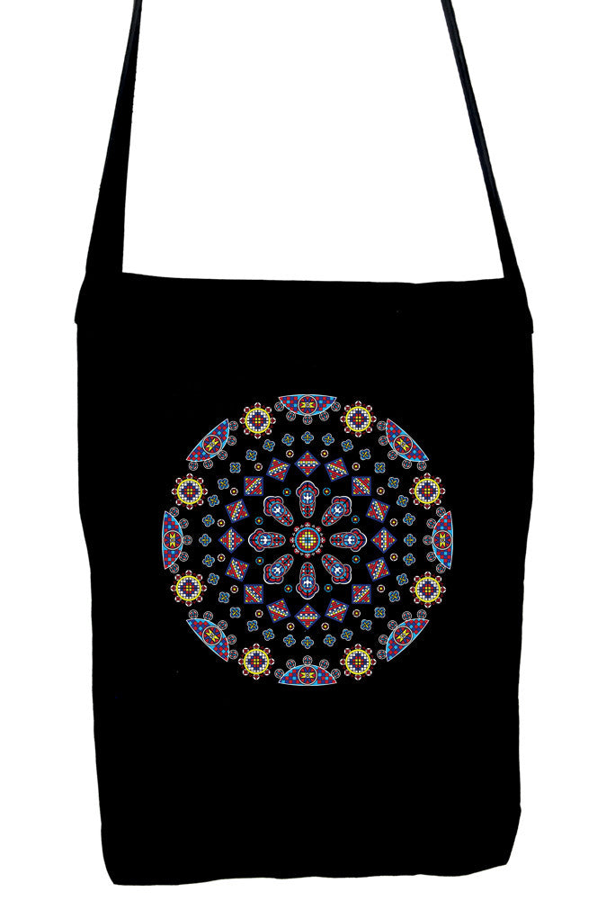 Geometric Gothic Stained Glass Window Crossbody Sling Bag Dark