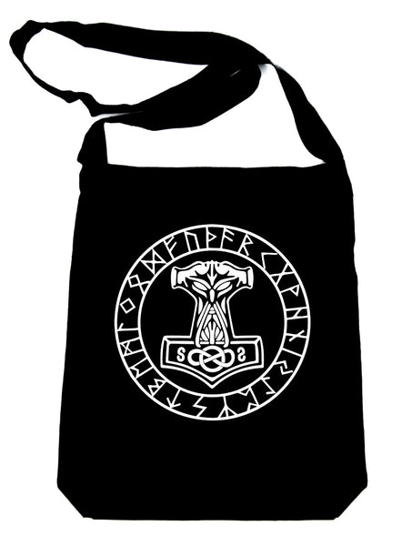 Mjolnir Mighty Thor Hammer Rune Script Bag Crossbody Sling Bag Viking