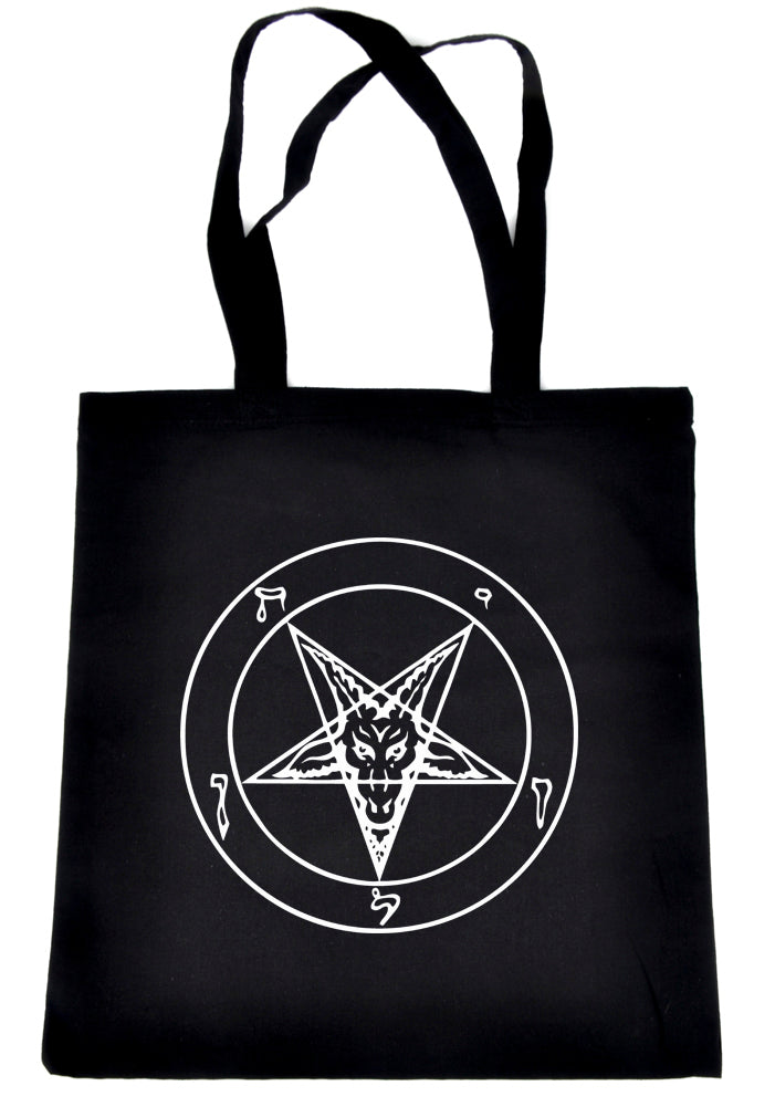 White Sabbatic Baphomet Tote Book Bag Satan Inverted Pentagram
