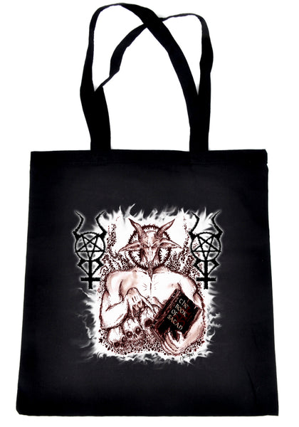 Satanic Baphomet Goat Devil Tote Bag Book Handbag Occult Metal