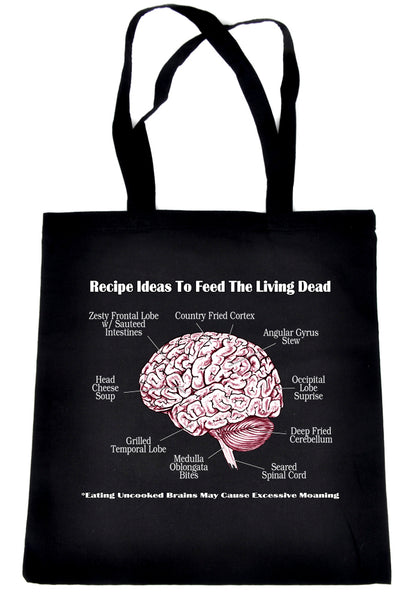 Cooking Human Brain Recipes Ideas Tote Book Bag Zombie Eating Walking Dead Handbag