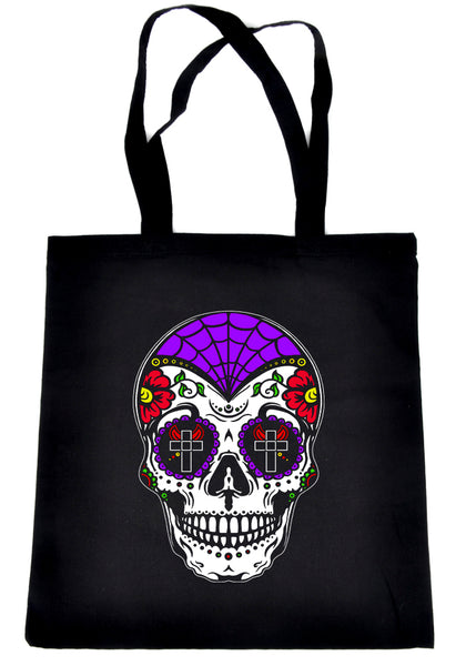 "White Sugar Skull Calavera Tote Book Bag ""Dia De Los Muertos"" Day of the Dead Handbag"