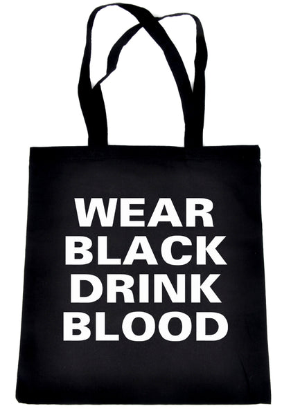 Wear Black Drink Blood Tote Bag Book Handbag Vampire