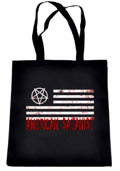 American Satanist Bloody Flag Pentagram Tote Bag Hail Satan Occult Clothing Book Bag
